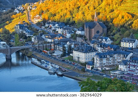 Moselle valley at Cochem town, Germany - stock photo
