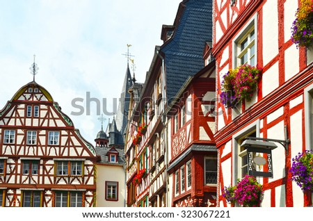 Moselle Valley Germany: View to historic half timbered houses in the old town of Bernkastel-Kues, Europe - stock photo