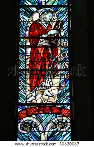 Moses - Biblical Hebrew religious leader, lawgiver, and prophet. Stained glass in Christchurch Anglican Cathedral. New Zealand. - stock photo