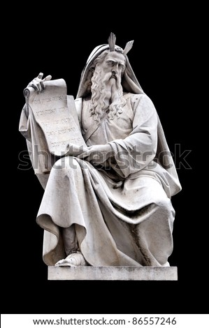 Moses by Ignazio Jacometti on the base of the Colonna dell'Immacolata, Rome Italy