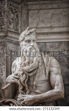 Moses in San Pietro in Vincoli church in Rome  - stock photo