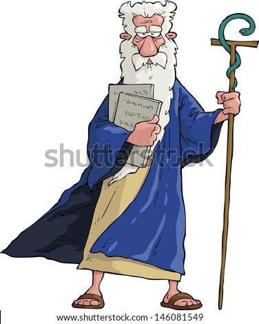 Moses with his staff and tablets raster version - stock photo