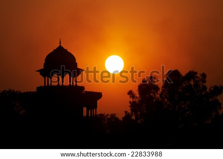 Moslem fortress on the sunset in Agra