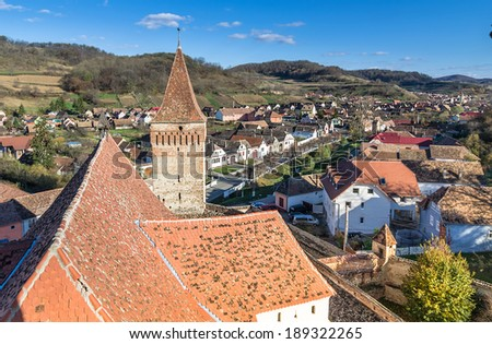 Mosna fortified church. Mosna church is one of the most beautiful and biggest churches in the Tarnave valley,Transylvanie Romania - stock photo