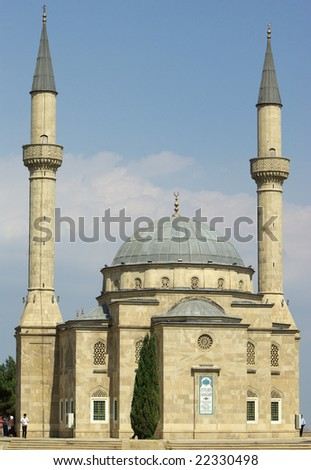 Mosque and two minarets - stock photo