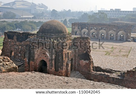 "Mosque at ""Purana Qila"" or Old Fort Delhi India"
