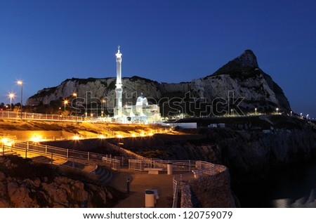 Mosque at the Europa Point in Gibraltar at night - stock photo