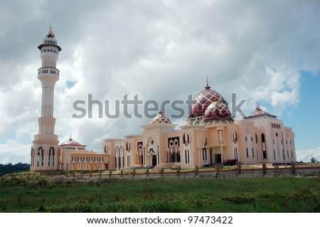 Mosque Baitul Izzah Tarakan, Indonesia in the final stages of development - stock photo