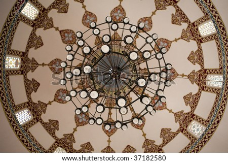 mosque ceiling chandelier - stock photo