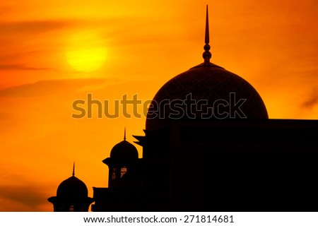 Mosque in a sunset - stock photo