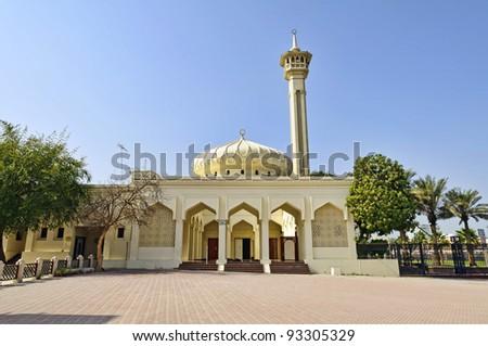 Mosque in  Dubai Bastakiya District, UAE - The Bastakia quarter, or Bastakiya, is an area of Dubai on the Bur Dubai side of the Dubai Creek that dates from the 1890s. - stock photo