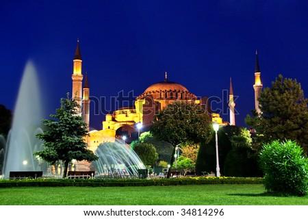 Mosque in night.  Hagia Sophia at Sultanahmet square, Istanbul - stock photo
