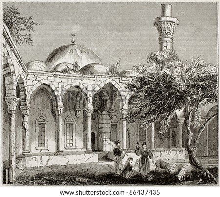 Mosque in Payas old illustration, southern Turkey. By unidentified author, published on Magasin Pittoresque, Paris, 1843 - stock photo