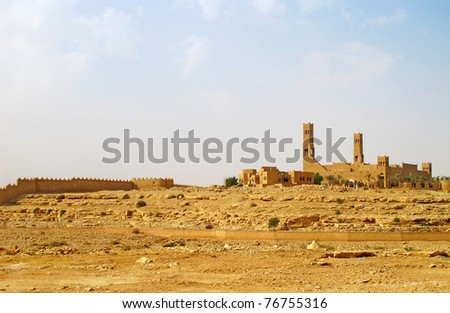 Mosque in the desert near Riyadh city, Saudi Arabia - stock photo