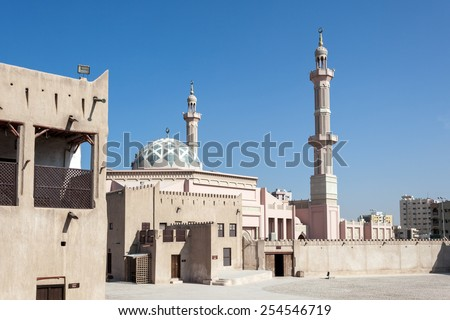 Mosque in the emirate of Ajman, United Arab Emirates - stock photo