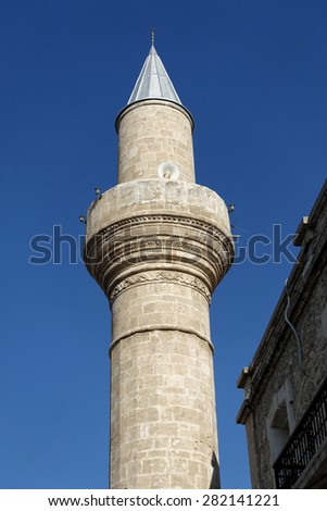 Mosque in the resort of Kyrenia - Northern Cyprus - stock photo