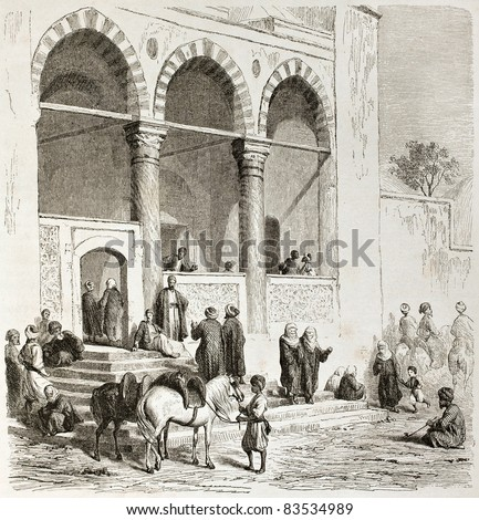 Mosque in Thessaloniki, old view. Created by Girardet after Proust, published on Le Tour du Monde, Paris, 1860 - stock photo
