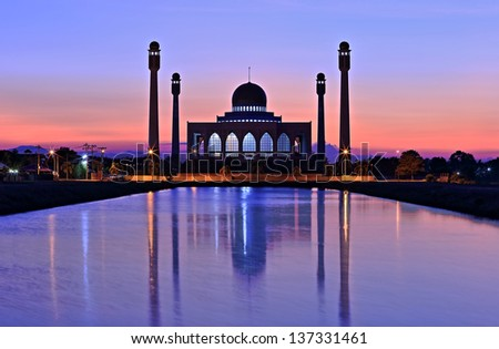 Mosque in twilight time - stock photo