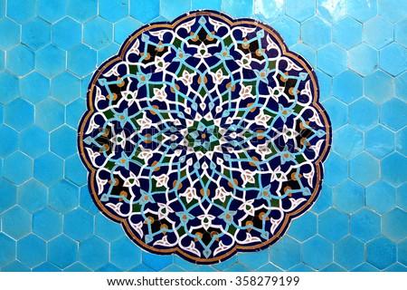 Mosque in Yazd, Iran, blue arabesque - stock photo