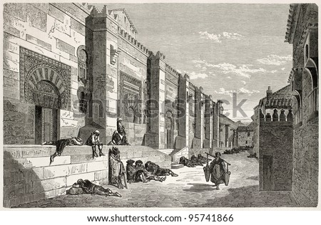 Mosque of Cordoba exterior wall old view, Spain. Created by Gustave Dore, published on Le Tour Du Monde, Paris, 1867 - stock photo