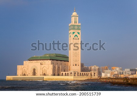Mosque of hassan II and the sea in casablanca, morocco - stock photo