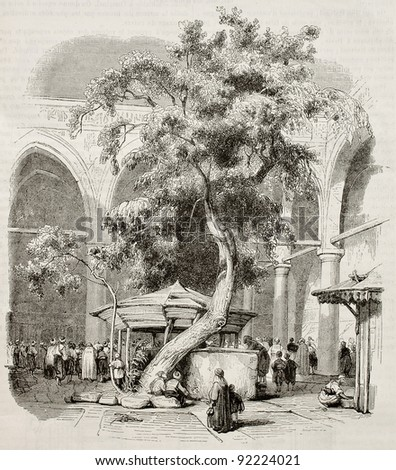 Mosque of Kesmas-el-Baradeyeh courtyard, Cairo. Created by Girardet, published on Magasin Pittoresque, Paris, 1845 - stock photo