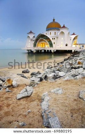 Mosque on water in Malacca, Malaysia, Asia. - stock photo