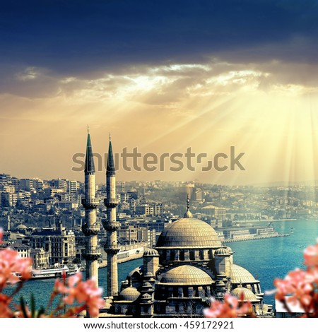 Mosque over sun rays in Istanbul,Turkey