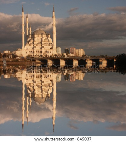 Mosque reflection - DESIGNERS: NOISE IN SKY! - stock photo
