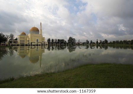 mosque reflections - stock photo