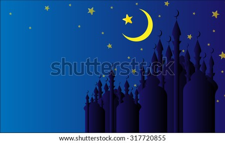 Mosque silhouettes on a starry night with half moon and a star, best wishes greeting card for islamic holidays celebrations - stock photo