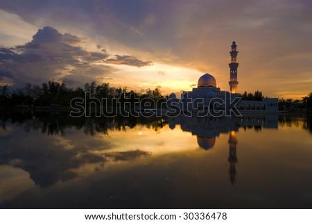 mosque with reflection ,terengganu,malaysia - stock photo