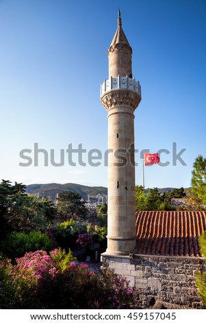 Mosque with tower at Bodrum Castle museum, Turkey  - stock photo