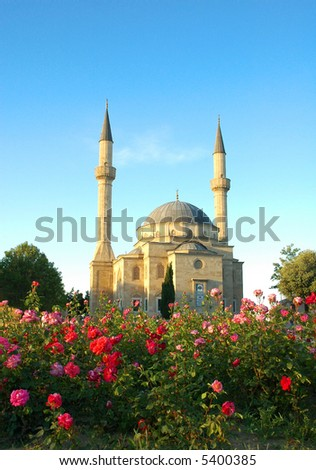 Mosque with two minarets in Baku, Azerbaijan - stock photo