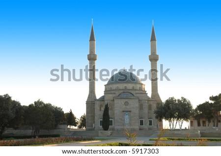 Mosque with two minarets in Baku, Azerbaijan - more similar photos in my portfolio - stock photo