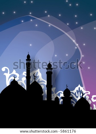 mosques in silhouette over bright night sky