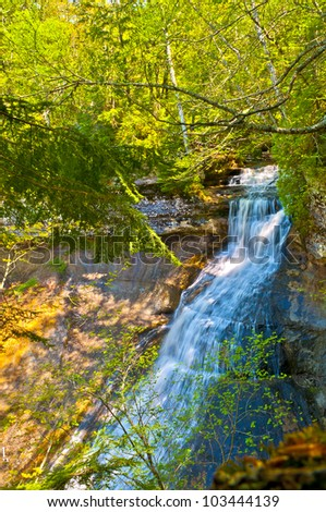 Mosquito Falls in  Pictured Rocks National Lakeshore Michigan State - stock photo