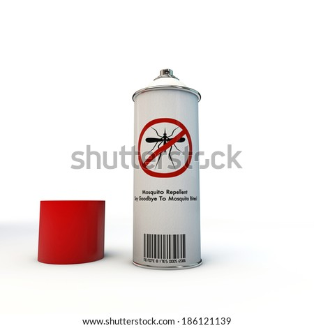 mosquito repellent spray can isolated on white background - stock photo
