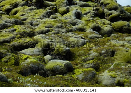Moss covered rocks on Iceland - stock photo
