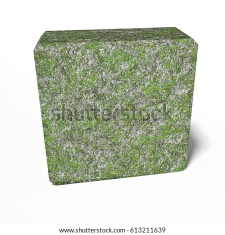 moss on concrete block - rendered 3d illustration