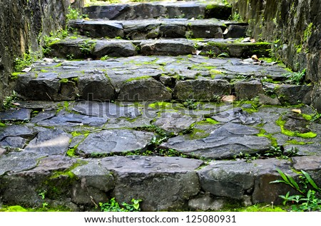 moss Rock stairway going up to Tang Kuan Hill songkhla thailand - stock photo