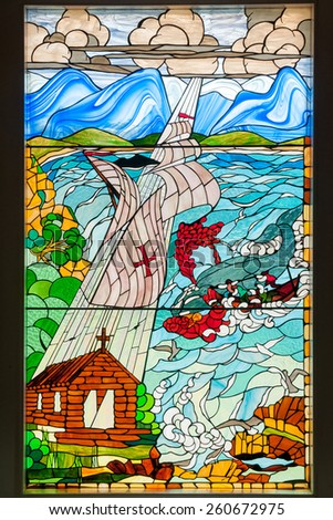 MOSSELBAY, SOUTH AFRICA - DECEMBER 30, 2014: Stained glass window at the Bartolomeu Diaz Museum. Dias arrived at the Bay of Saint Blaise, later renamed Mosselbay, on 4 February 1488