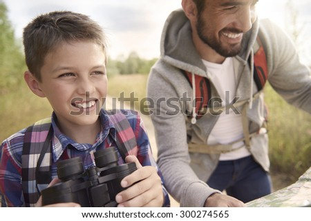 Most amazing adventures only with my father - stock photo