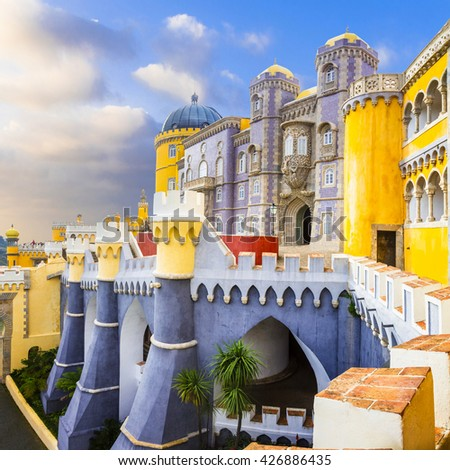 most beautiful castles of Europe - Pena palace in Portugal - stock photo