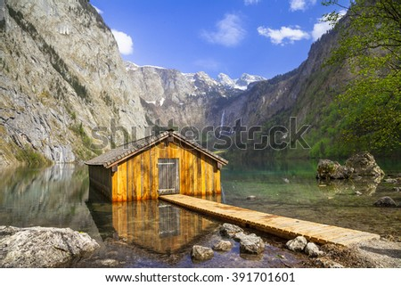 most beautiful lakes - Konigsee in Bavaria - stock photo