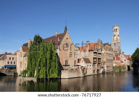 Most common view of medieval Bruges - stock photo