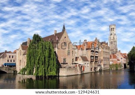 Most common view of medieval Bruges, Belgium. - stock photo
