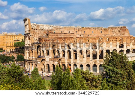 most famous arena in the world- great ancient Colosseum, Rome - stock photo