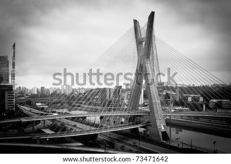 Most famous bridge in the city of Sao Paulo, Brazil - stock photo