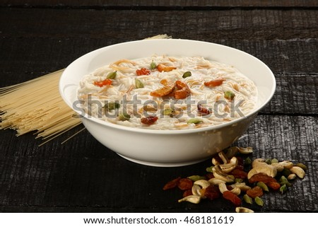 Most famous Indian sweet pudding semiya, Kheer in a white bowl.Selective focus photograph,